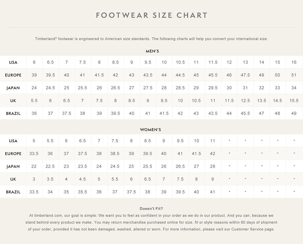 how to size timberland boots