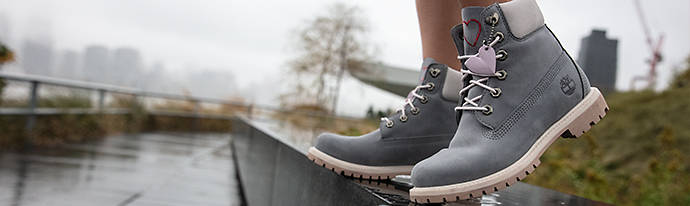 Woman wearing Timberland Footwear