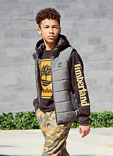 Kid in Timberland Apparel