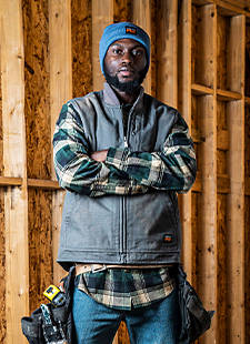 Worker in Timberland Apparel