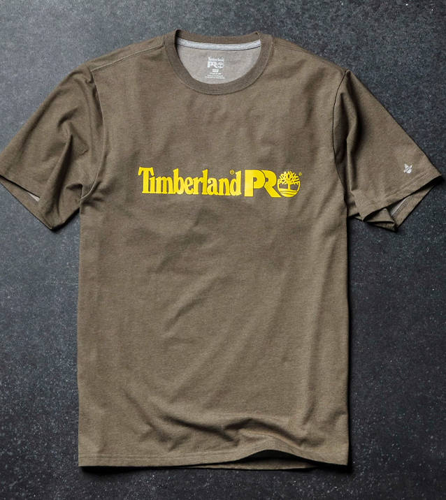 an olive green Timberland PRO logo t-shirt