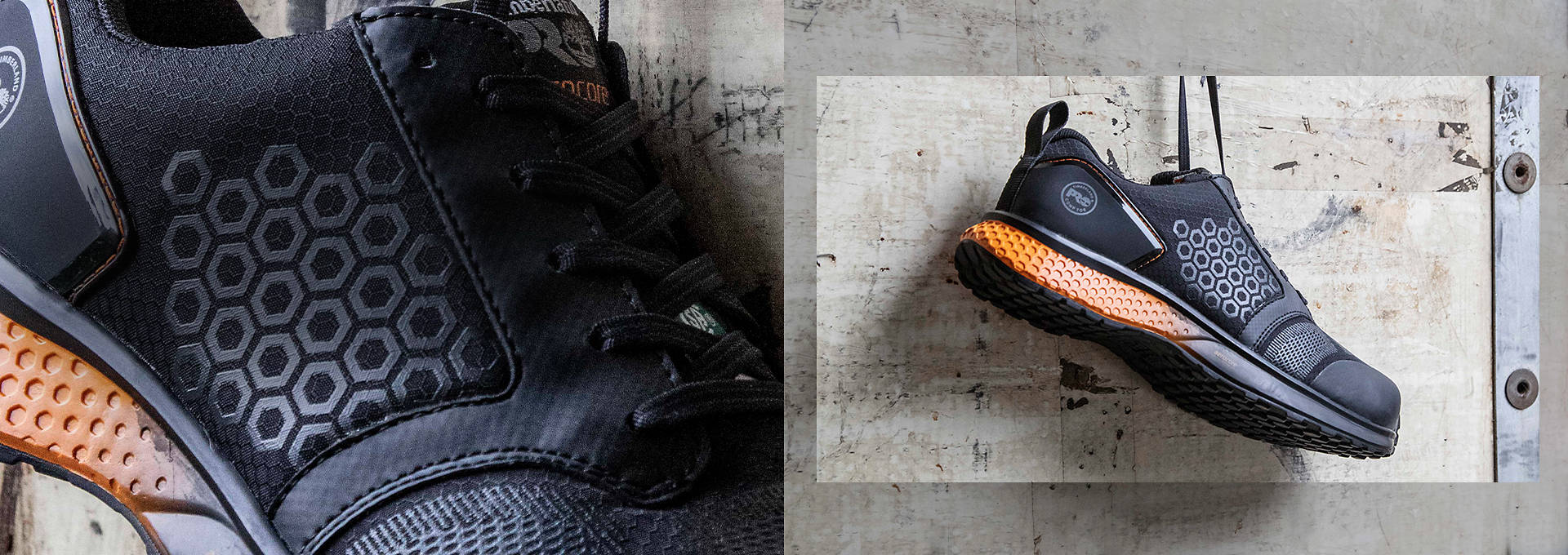Deux chaussures de travail noires avec éléments hexagonaux