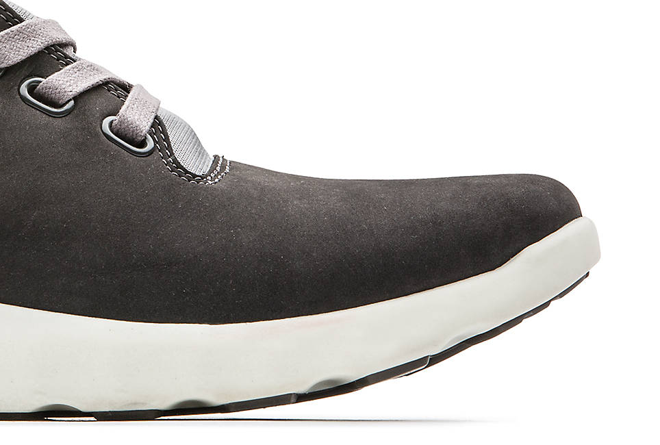 Ortholite footbed for cushioning and Classic gray nubuck leather treated with Defender Repellent Systems