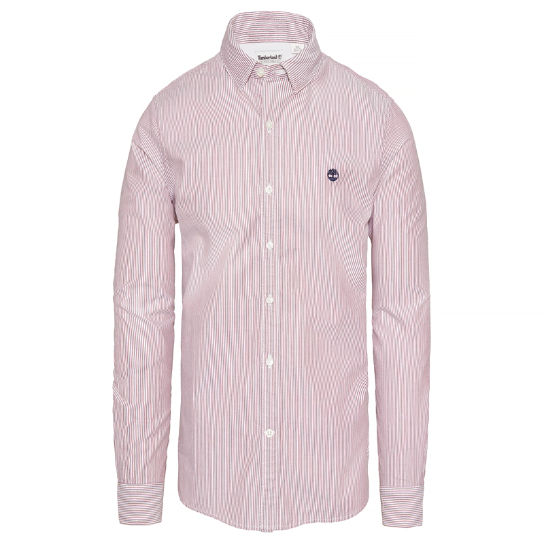 Milford Striped Oxford Shirt Heren Rood | Timberland