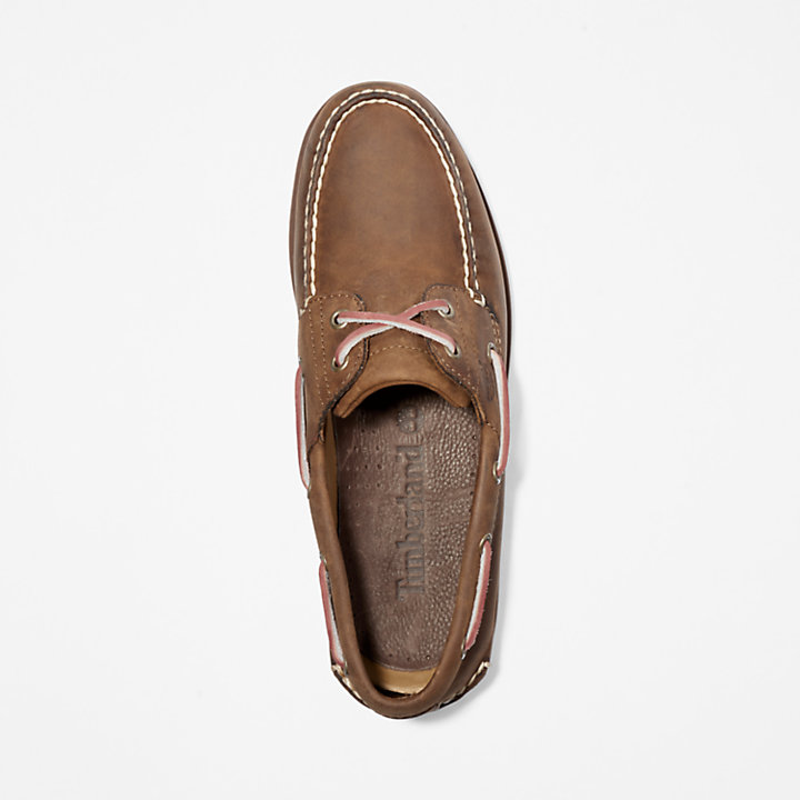 Classic 2-Eye Boat Shoe for Men in Dark Brown-