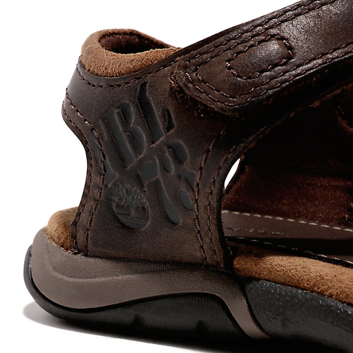 Oak Bluffs Strappy Leather Sandal for Youth in Brown-
