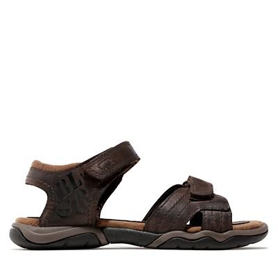 Oak+Bluffs+Strappy+Leather+Sandal+for+Youth+in+Brown