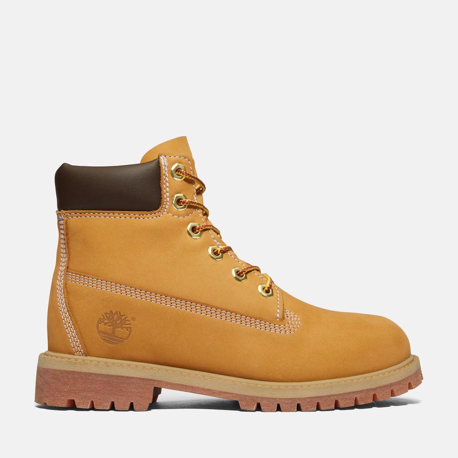 Timberland® Icon 6-inch Premium Boot Junior Jaune Wheat Nubuck Enfant, Taille 39