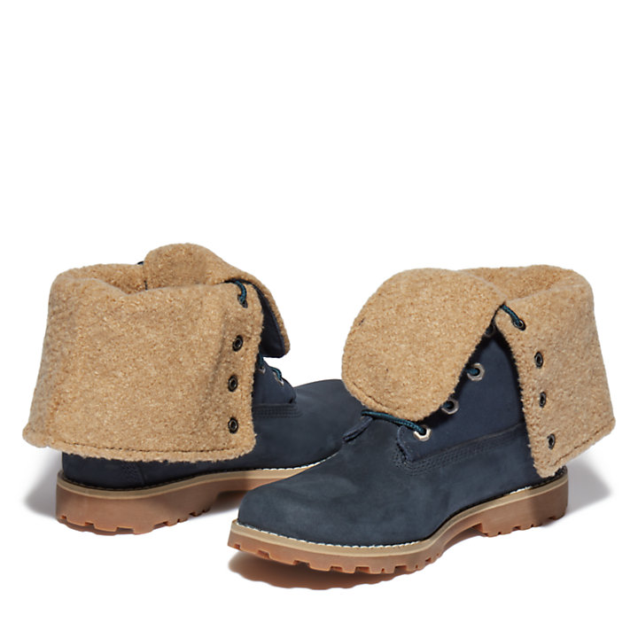 Authentics 6 Inch Faux Shearling Boot for Junior in Navy-