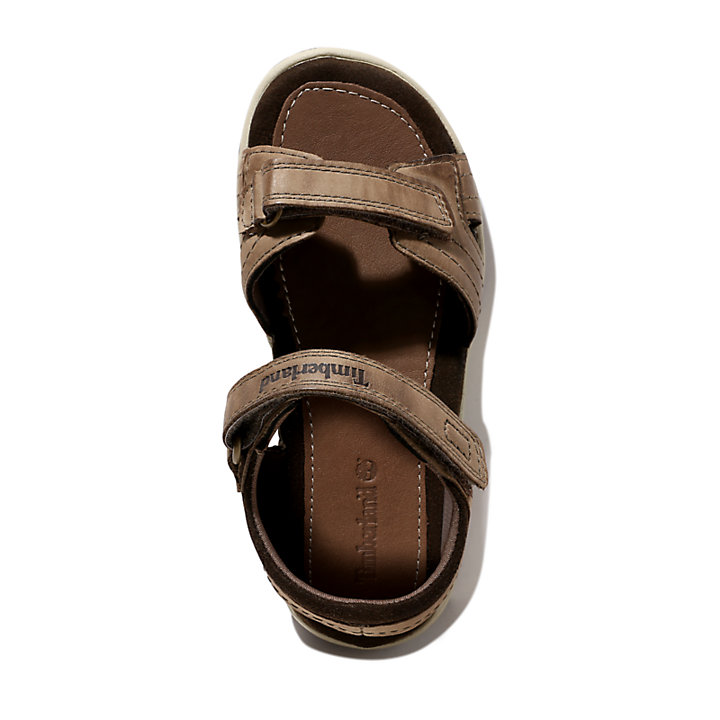 Oak Bluffs Strappy Leather Sandal for Youth in Beige-