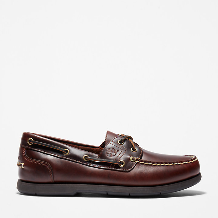 Classic Full Grain Boat Shoe for Men in Dark Brown-