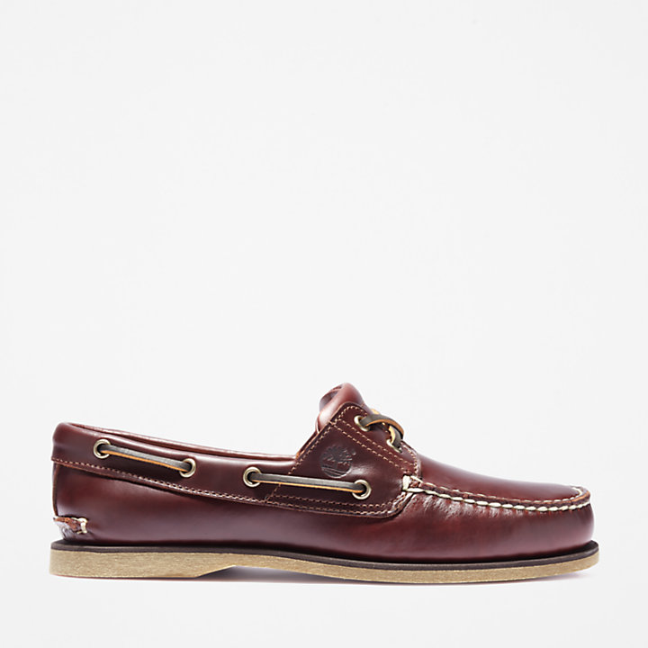 Classic 2-Eye Boat Shoe for Men in Mid Brown-