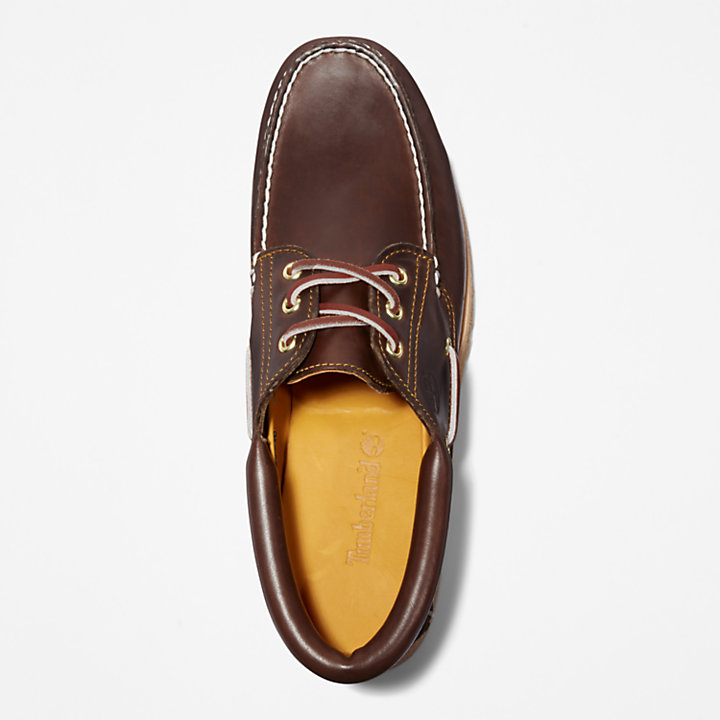 Handsewn Boat Shoe for Men in Brown-