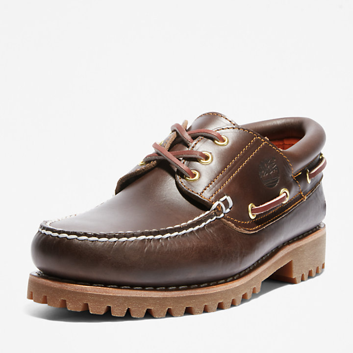 Authentic 3-Eye Classic Lug Bootschoen voor heren in bruin-