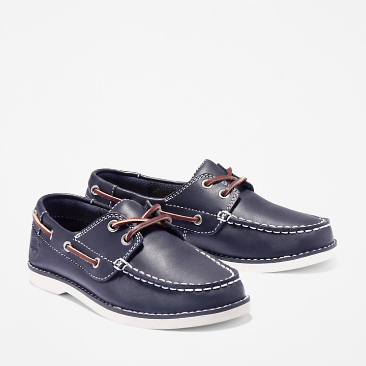 Seabury Boat Shoe for Youth in Navy-