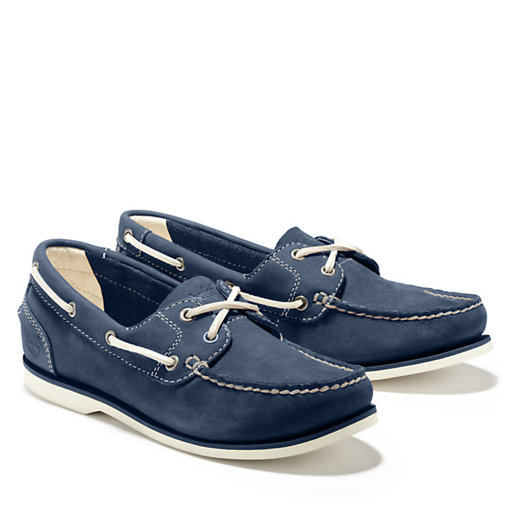 Classic Unlined Boat Shoe for Women in Navy-