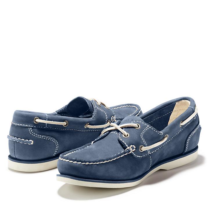 Sapato de Vela Clássico Sem Forro para Mulher em Azul-marinho-
