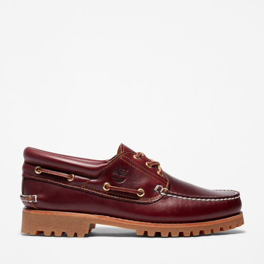 Authentic 3-Eye Classic Lug Boat Shoe for Men in Burgundy | Timberland