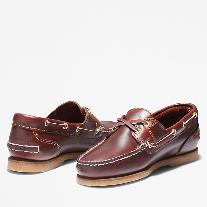 Classic 2-Eye Boat Shoe for Women in Brown-