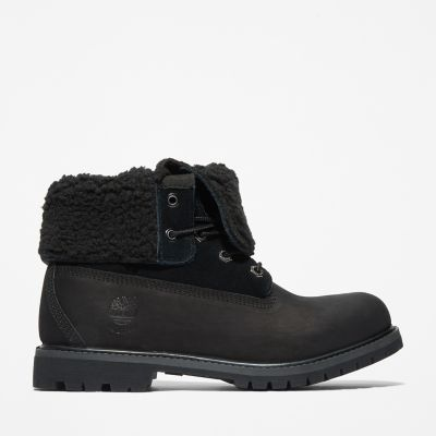 Roll-Top+Stiefel+f%C3%BCr+Damen+in+Schwarz