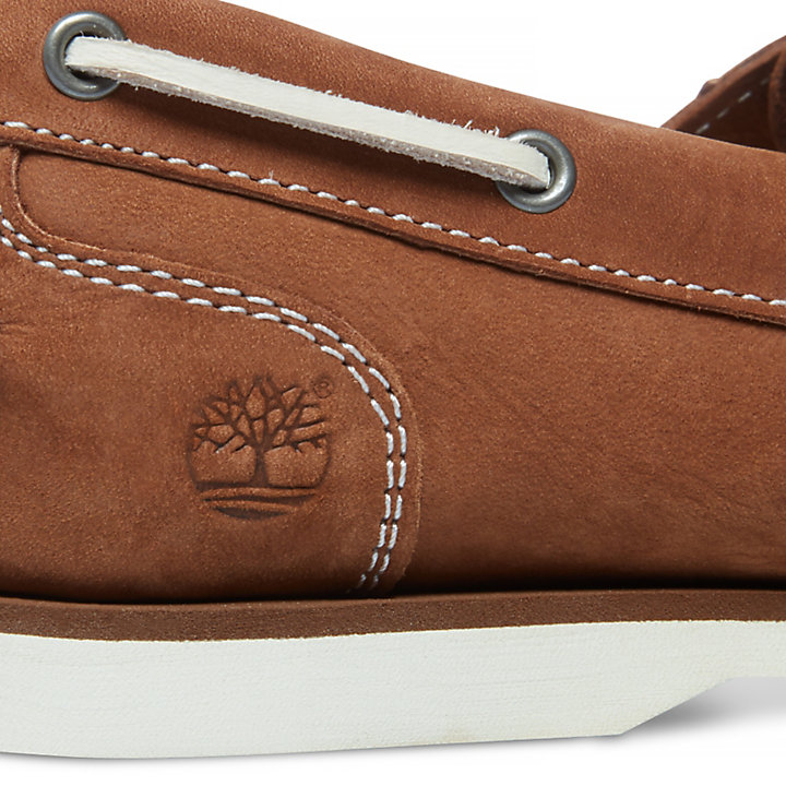 Classic Unlined Boat Shoe for Women in Brown-