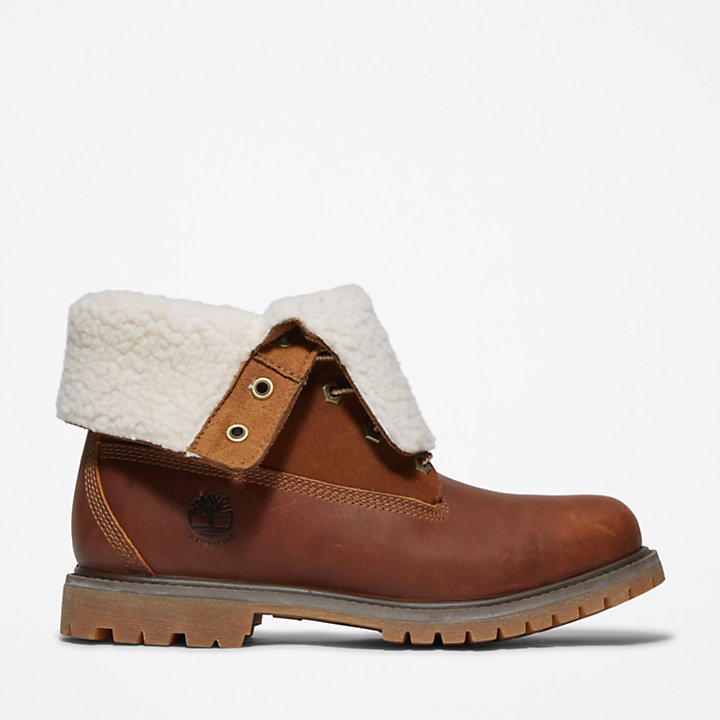Bottine Authentics en molleton épais pour femme en marron-