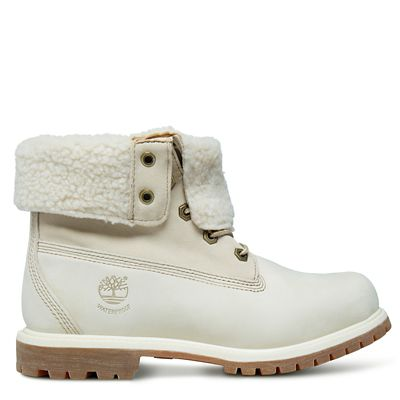 Bottine+Authentics+en+molleton+%C3%A9pais+pour+femme+en+blanc