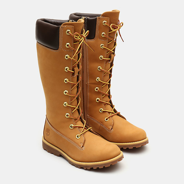Tall Lace-Up Boot for Youth in Yellow-