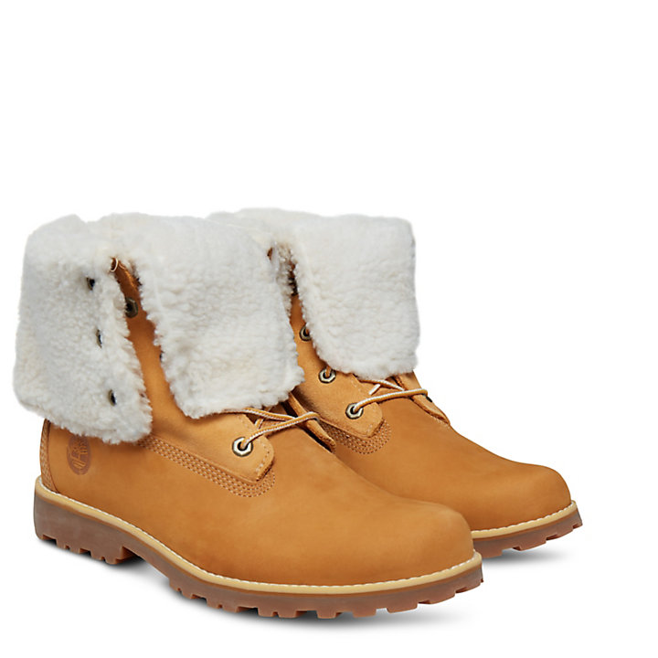 Authentics 6 Inch Faux Shearling Boot voor Juniors in geel-