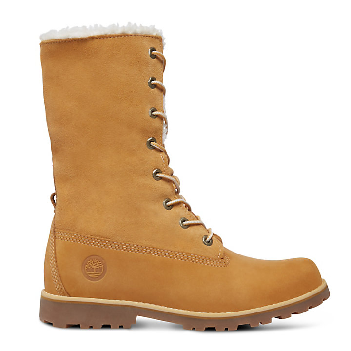 Authentics 6 Inch Faux Shearling Boot for Junior in Yellow-