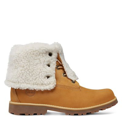 Authentics+6+Inch+Boots+mit+Lammfellimitat+f%C3%BCr+Kinder+in+Gelb