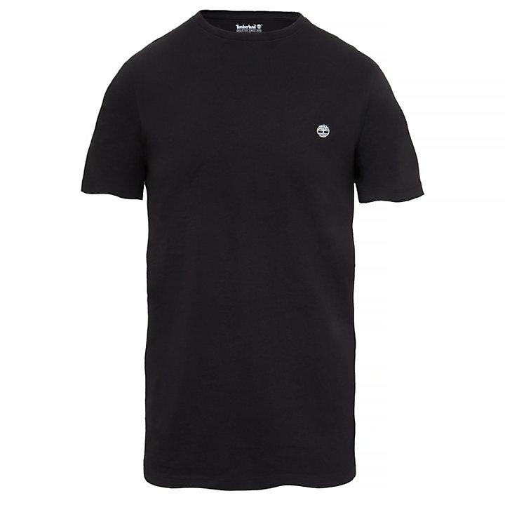 Camiseta de Algodón con Cuello Redondo para Hombre en color negro-
