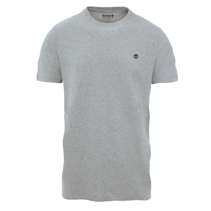 T-shirt à col rond en coton pour homme en gris-