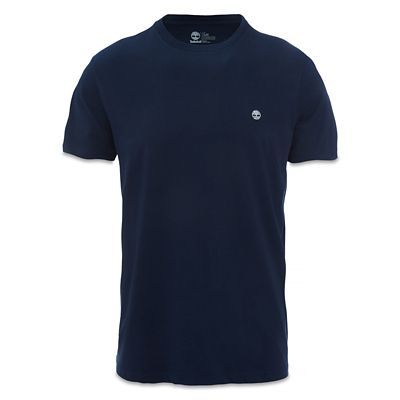 Crew+Neck+Cotton+T-Shirt+for+Men+in+Navy
