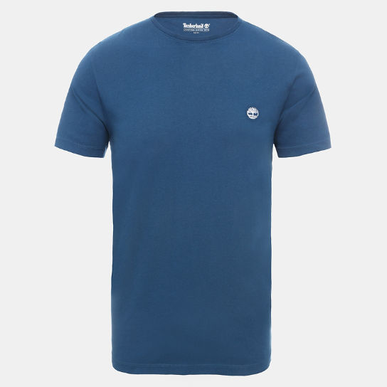 Crew Neck Cotton T-Shirt for Men in Teal | Timberland