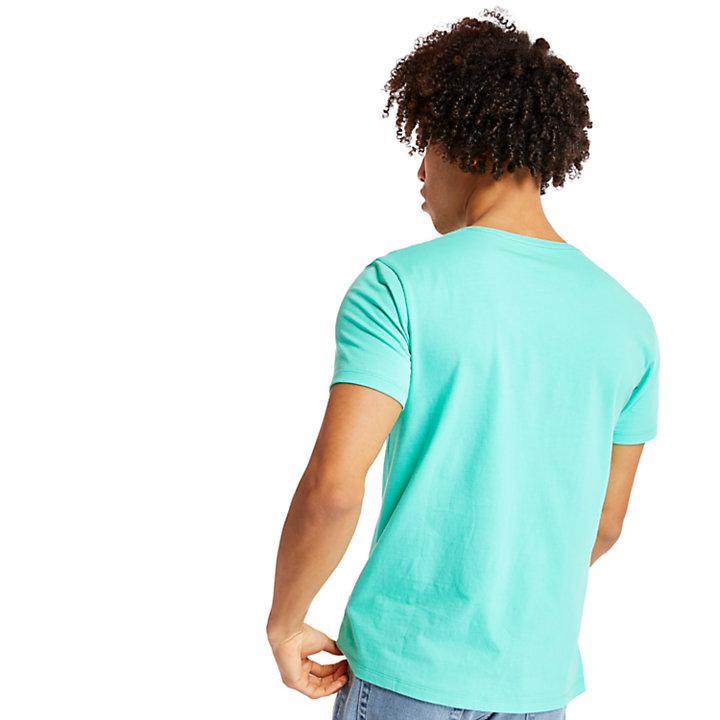 Camiseta Entallada de Manga Corta con Logotipo para Hombre en verde-
