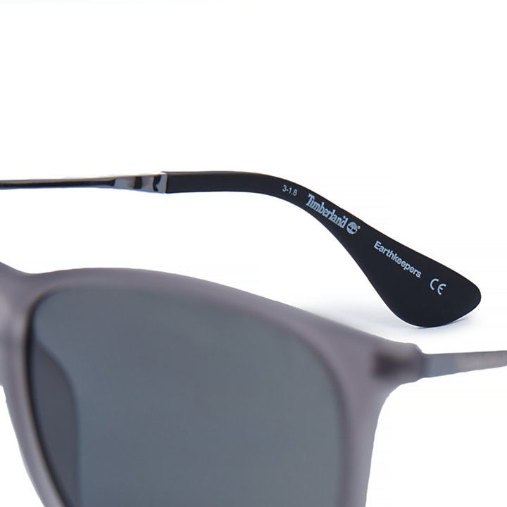 Rubberised Rectangle Sunglasses in Black-