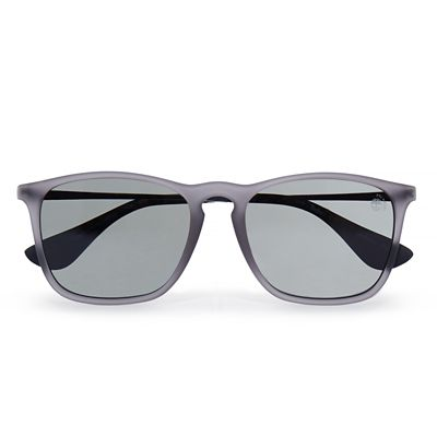 Rubberised+Rectangle+Sunglasses+in+Black