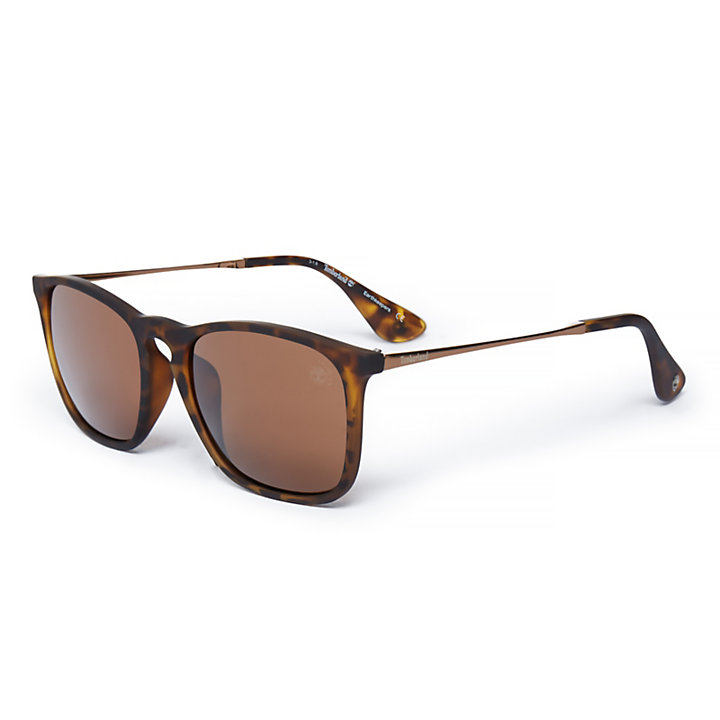 Rubberised Rectangle Sunglasses in Brown-