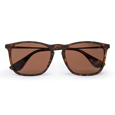 Rubberised+Rectangle+Sunglasses+in+Brown