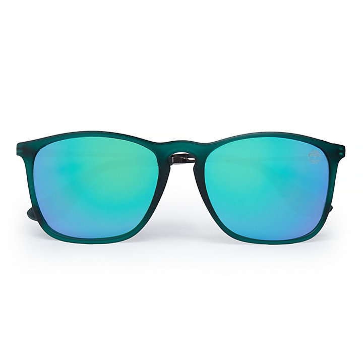 Rubberised Rectangle Sunglasses in Green-