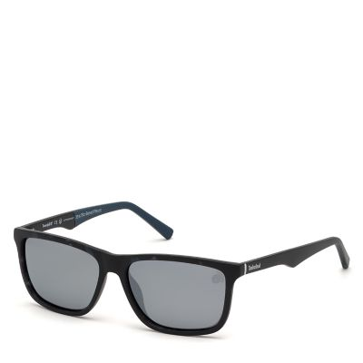 Rubberised+Rectangle+Sunglasses+voor+Heren+en+Blauw
