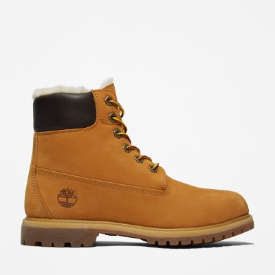 6+Inch+Shearling+Boot+for+Women+in+Yellow