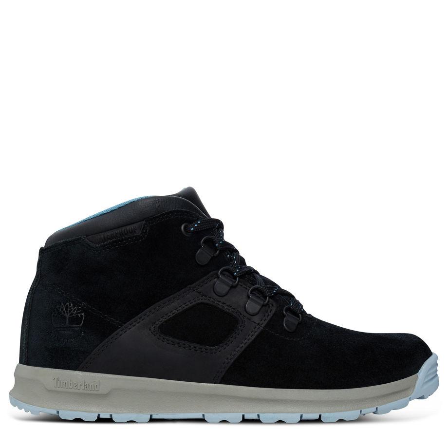Timberland Gt Scramble Mid Leather Boot Bambino Dal 35,5 Al 40 Nero Black Silk Suede