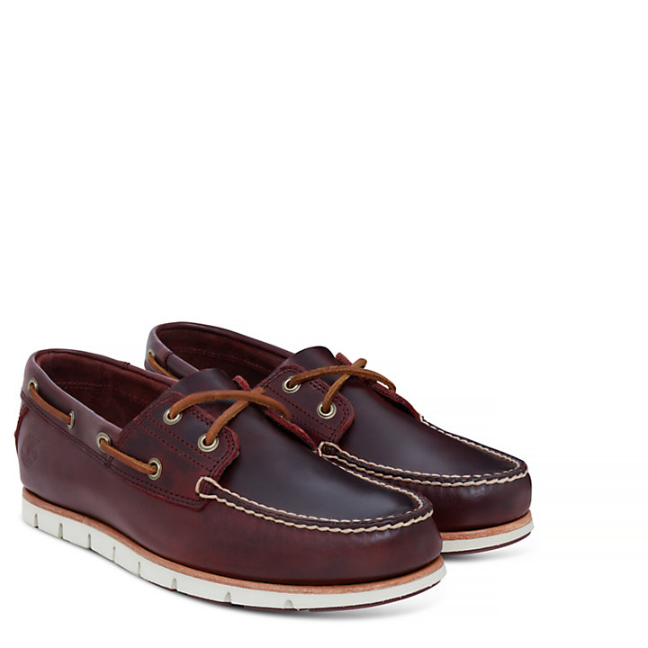 Tidelands Boat Shoes for Men in Burgundy-