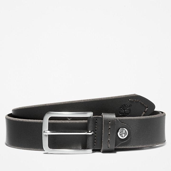 Narrow Leather Belt for Men in Black-