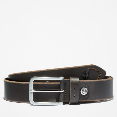 Narrow+Leather+Belt+for+Men+in+Brown
