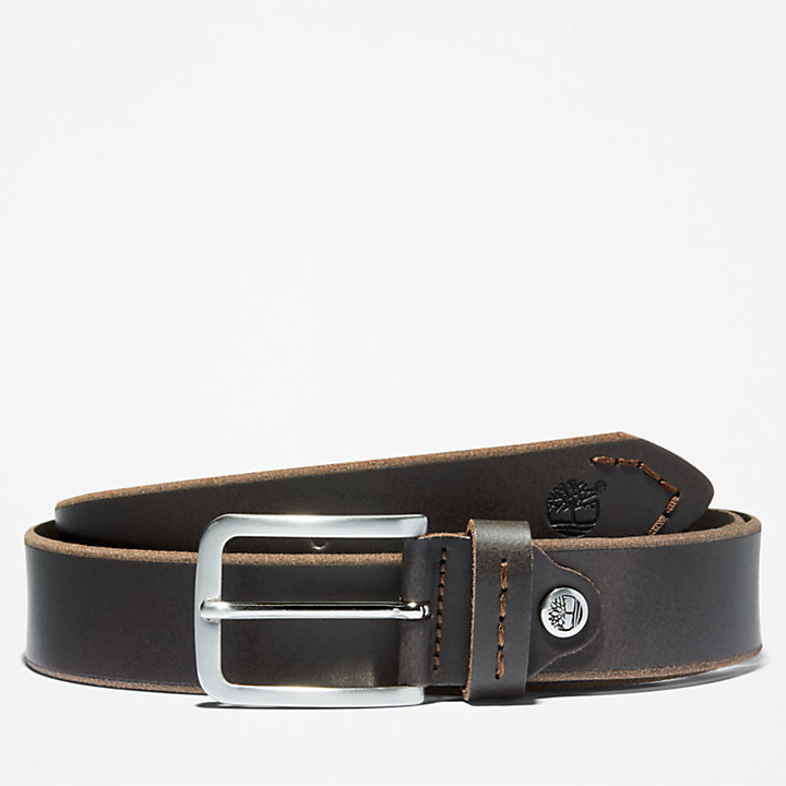 Narrow Leather Belt for Men in Brown-