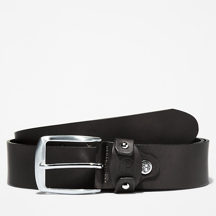 Squared Buckle Belt for Men in Black-