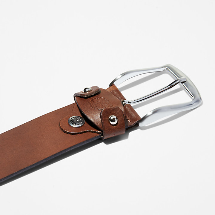 Square Buckle Leather Belt for Men in Brown-